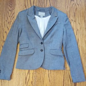 H&M Gray Cropped Blazer Floral Lining 8 (or 6)